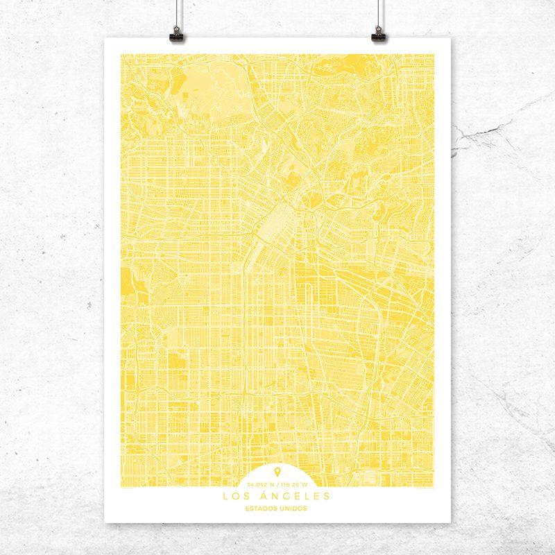 Mapa de Los Ángeles en color Vainilla