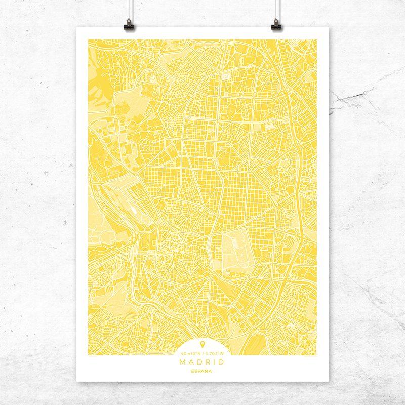 Mapa de Madrid en color vainilla