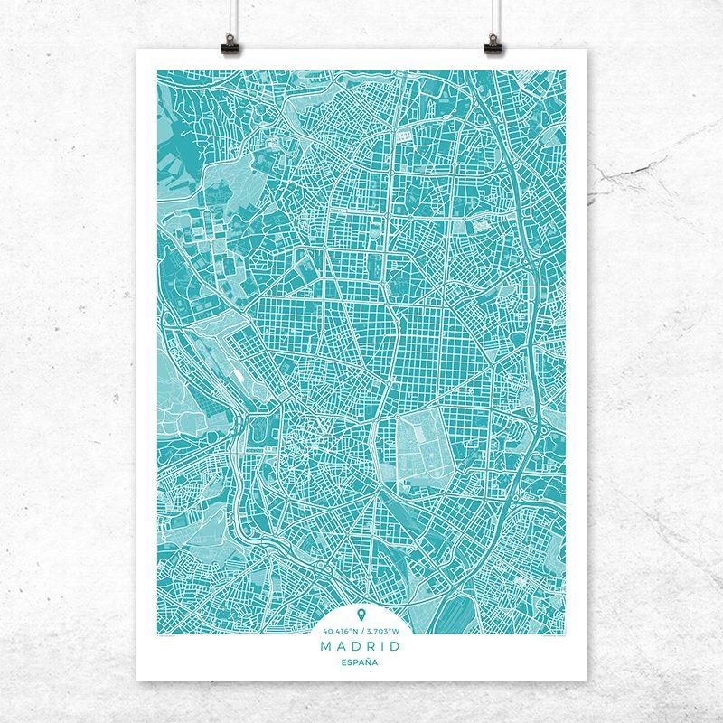Mapa de Madrid en color deep blue