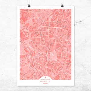 Mapa de Madrid en color bermellón