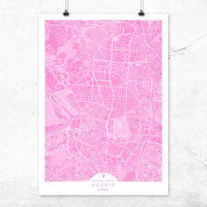 Mapa de Madrid en color fucsia