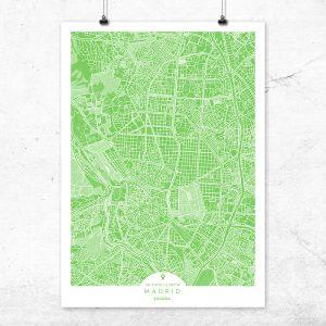 Mapa de Madrid en color greenery