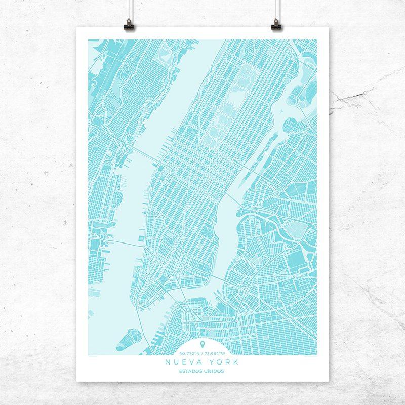 Mapa de Nueva York en color turquesa