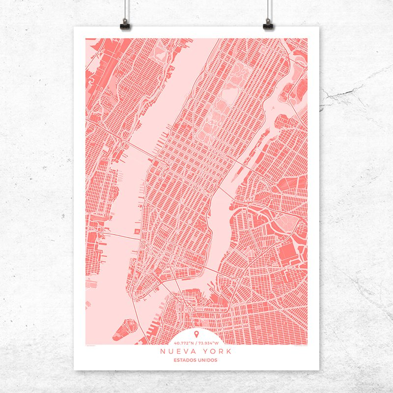 Mapa de Nueva York en color bermellón