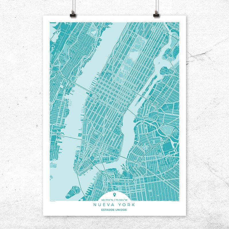 Mapa de Nueva York en color deep blue
