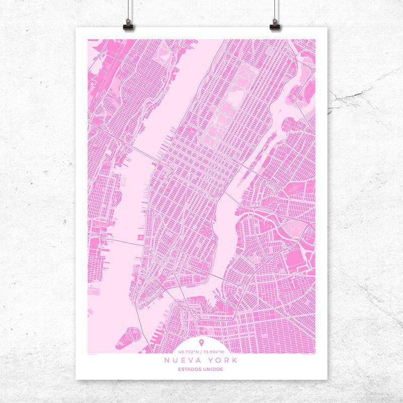 Mapa de Nueva York en color fucsia