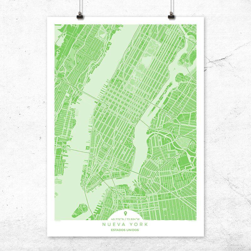 Mapa de Nueva York en color greenery