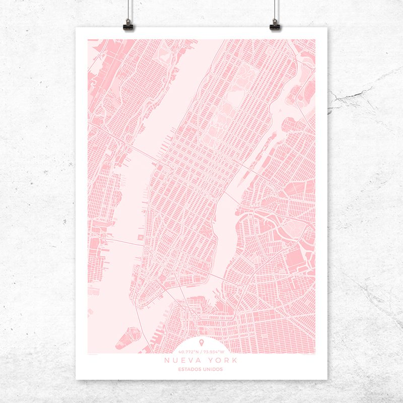 Mapa de Nueva York en color rosa quartz