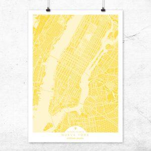 Mapa de Nueva York en color vainilla