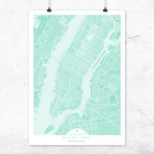 Mapa de Nueva York en color mint