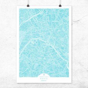 Mapa de París en color turquesa