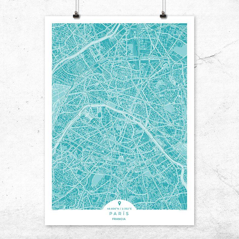 Mapa de París en color deep blue