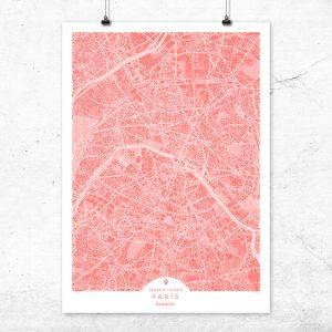Mapa de París en color bermellón
