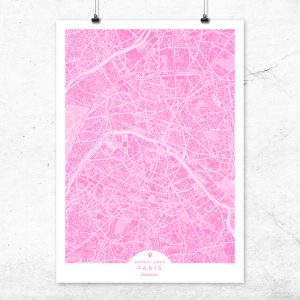 Mapa de París en color fucsia