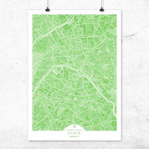 Mapa de París en color greenery