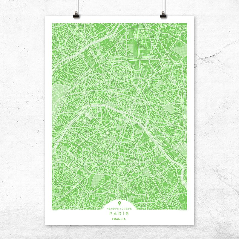 Mapa de París en color greenery