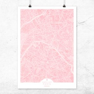 Mapa de París en color rosa quartz