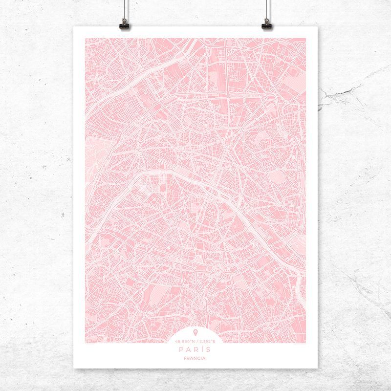 Mapa de París en color rosa quartz