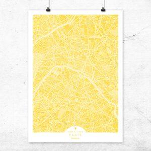 Mapa de París en color vainilla