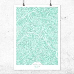 Mapa de París en color mint
