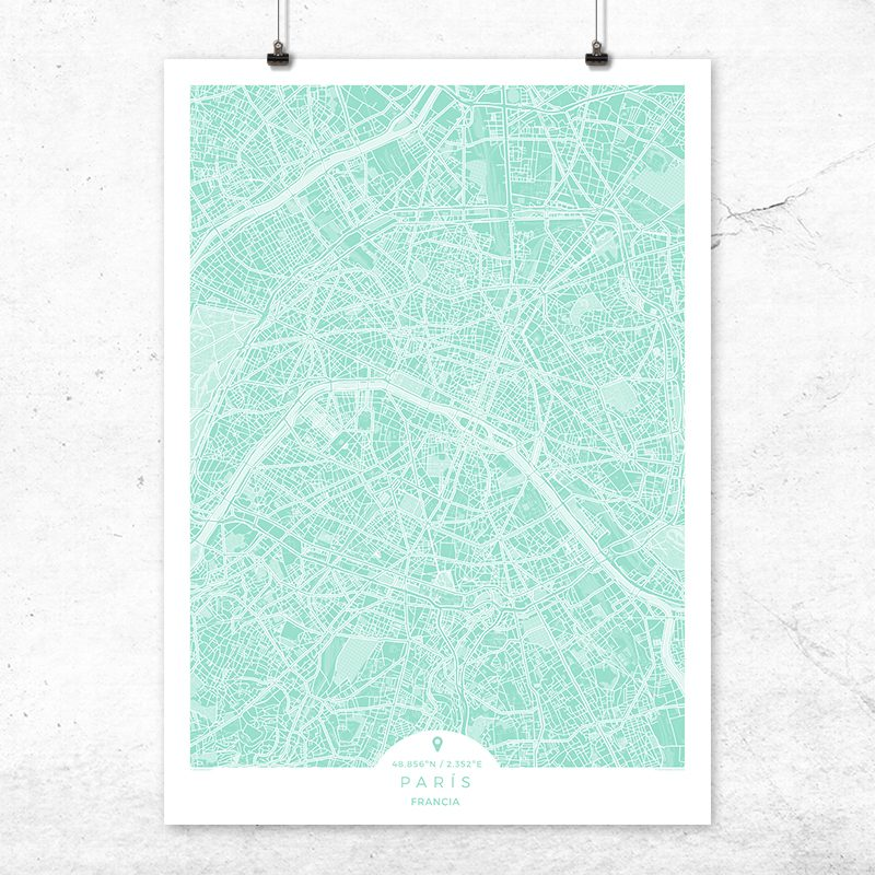 Mapa de París en color mint