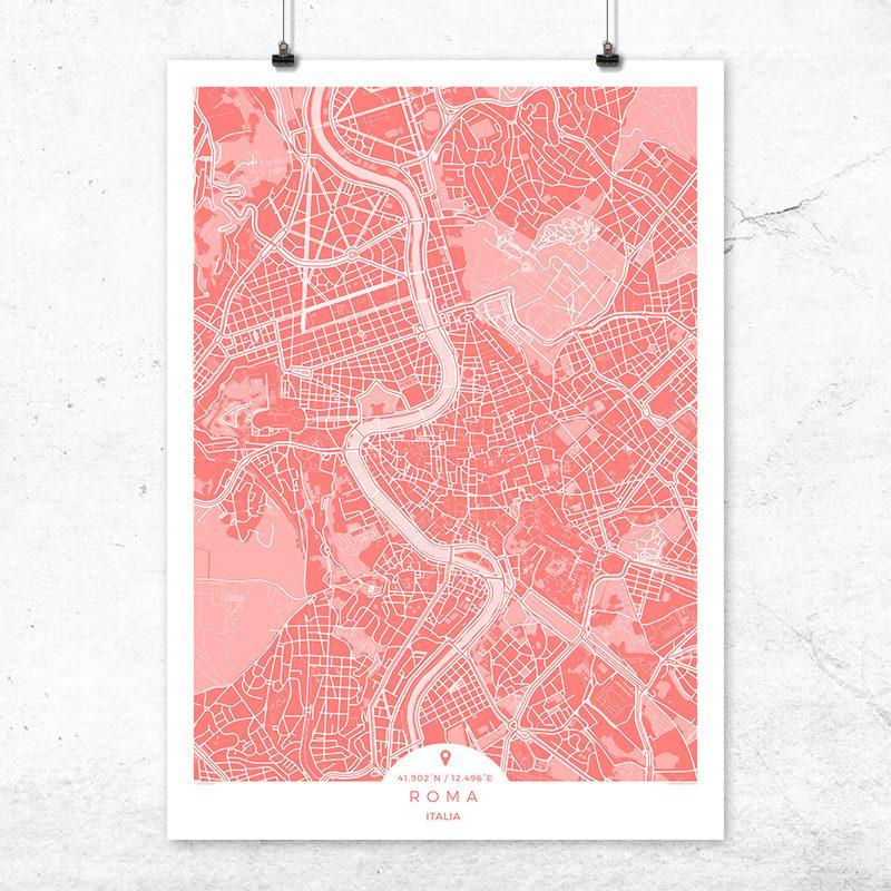 Mapa de Roma en color bermellón
