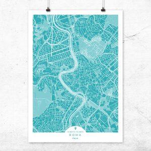 Mapa de Roma en color Deep Blue