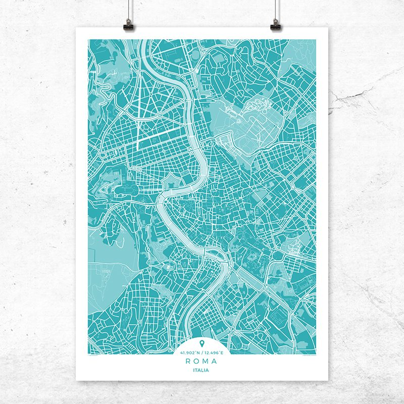 Mapa de Roma en color Deep Blue