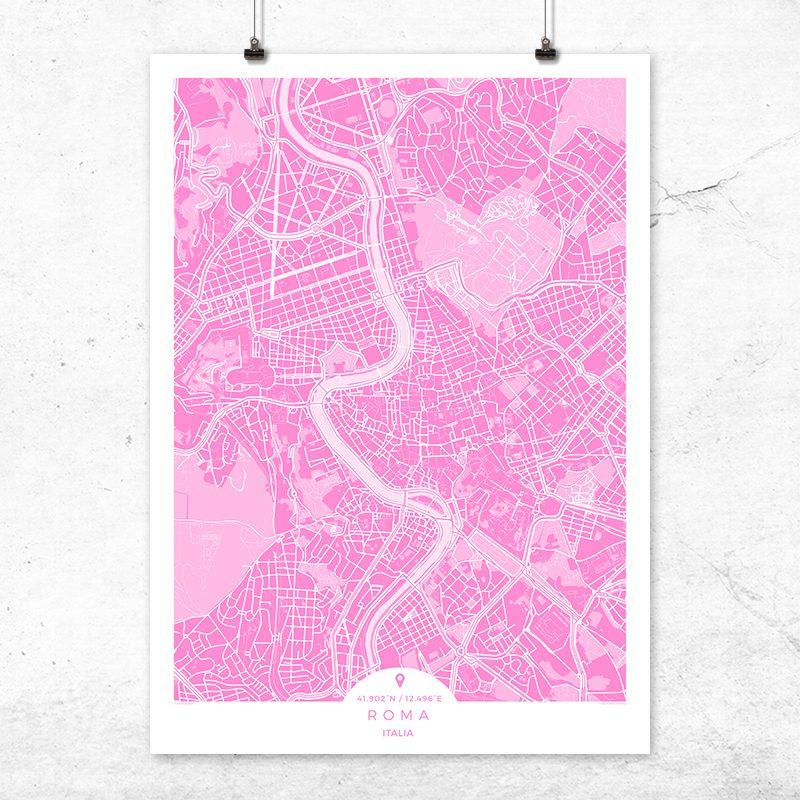 Mapa de Roma en color fucsia
