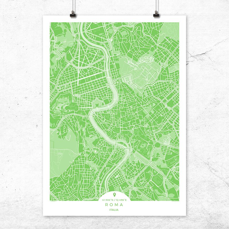 Mapa de Roma en color greenery