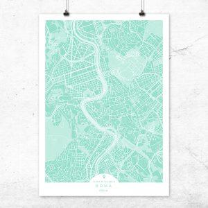 Mapa de Roma en color mint