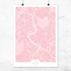 Mapa de Roma en color rosa quartz