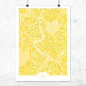 Mapa de Roma en color vainilla