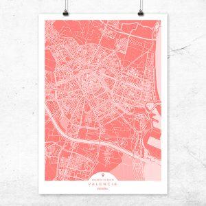 Mapa de Valencia en color bermellón