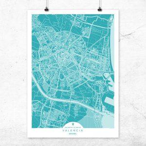 Mapa de Valencia en color Deep Blue