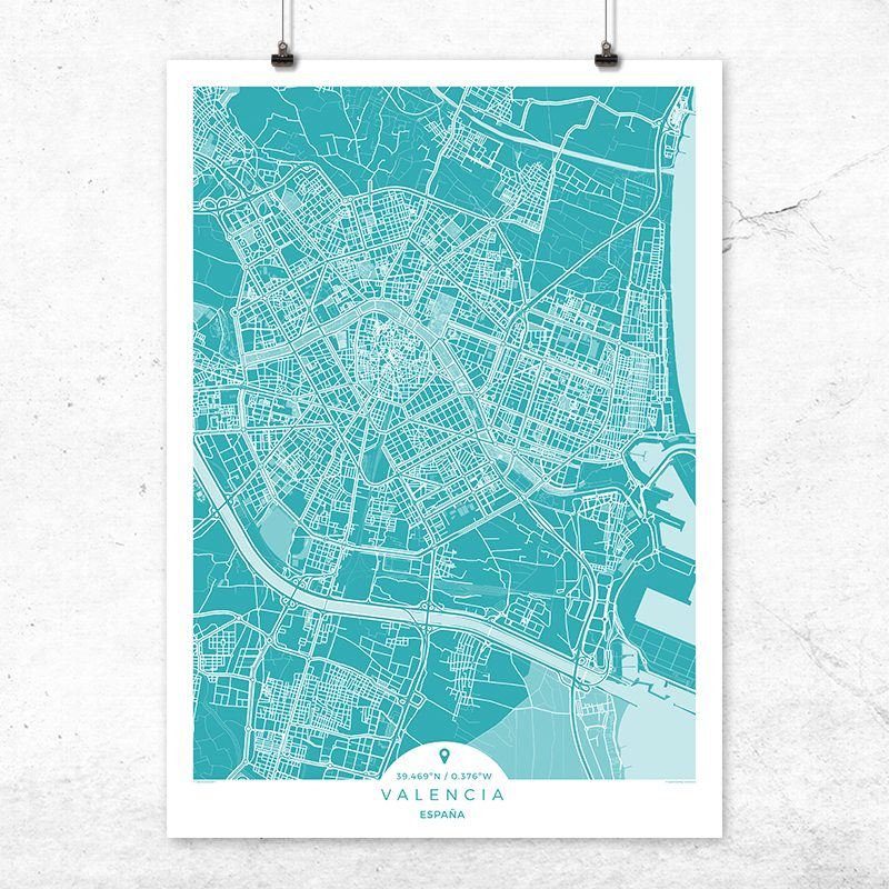 Mapa de Valencia en color Deep Blue
