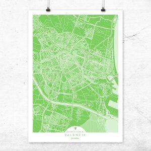 Mapa de Valencia en color greenery