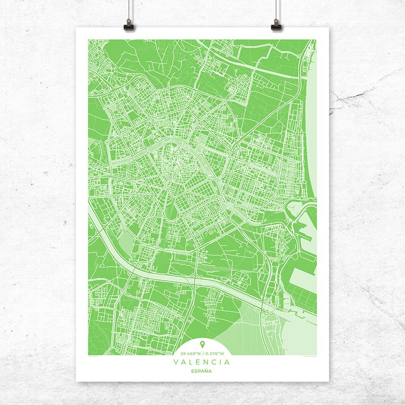 Mapa de Valencia en color greenery
