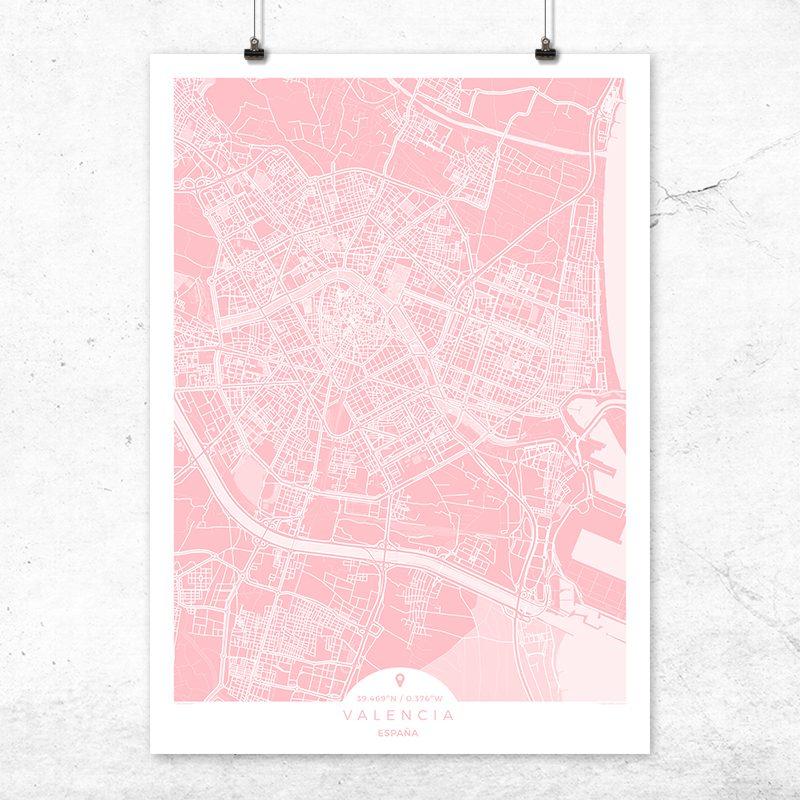Mapa de Valencia en color rosa quartz
