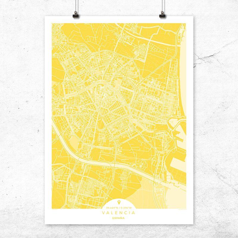 Mapa de Valencia en color vainilla