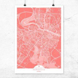 Mapa de Zaragoza en color bermellón