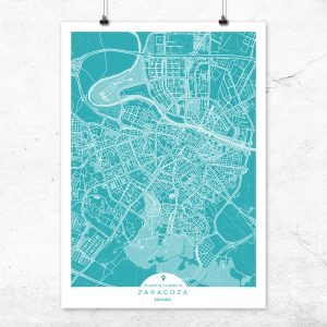 Mapa de Zaragoza en color Deep Blue