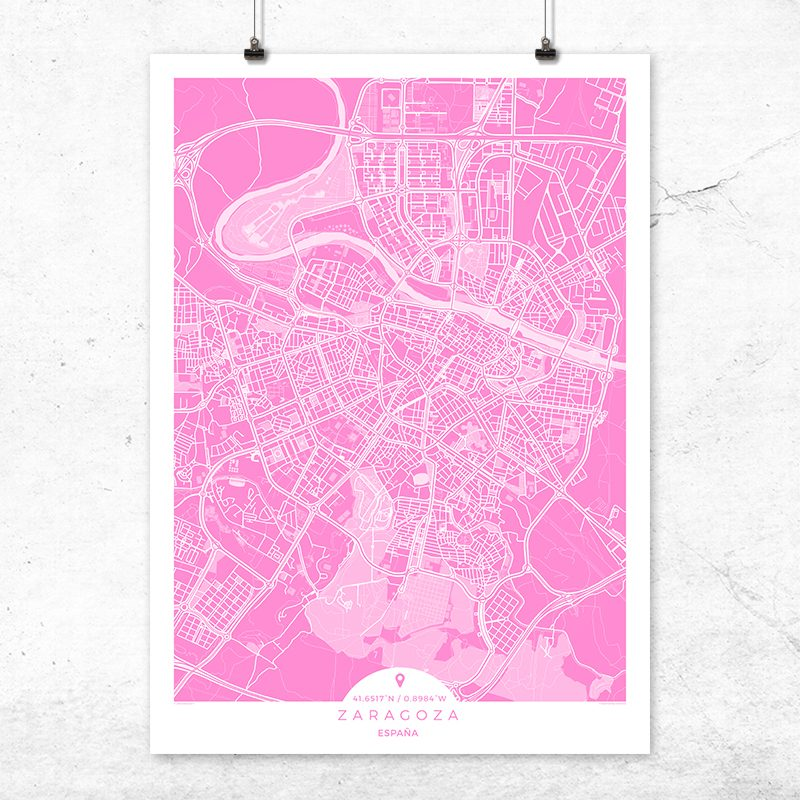 Mapa de Zaragoza en color fucsia