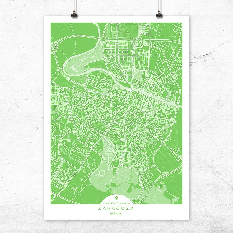 Mapa de Zaragoza en color greenery