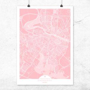 Mapa de Zaragoza en color rosa quartz