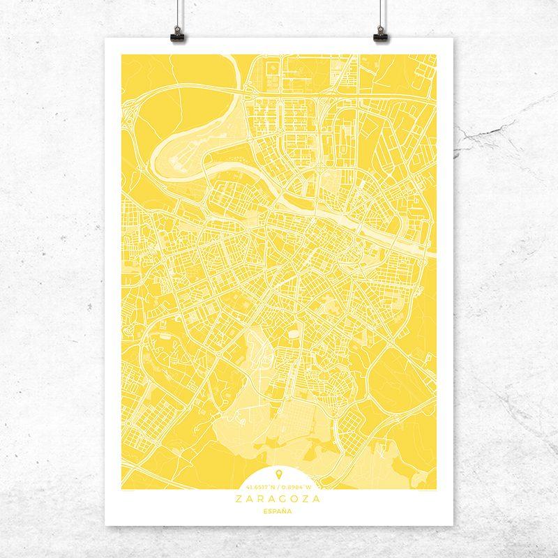 Mapa de Zaragoza en color vainilla