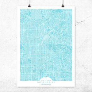 Mapa de Los Ángeles en color turquesa