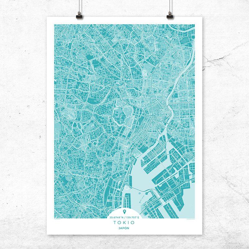 Mapa de Tokio en color azul profundo