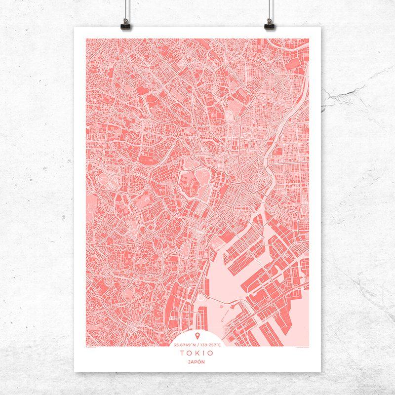 Mapa de Tokio en color bermellón