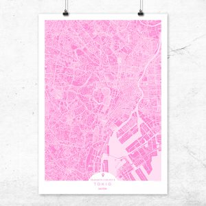 Mapa de Tokio en color fucsia